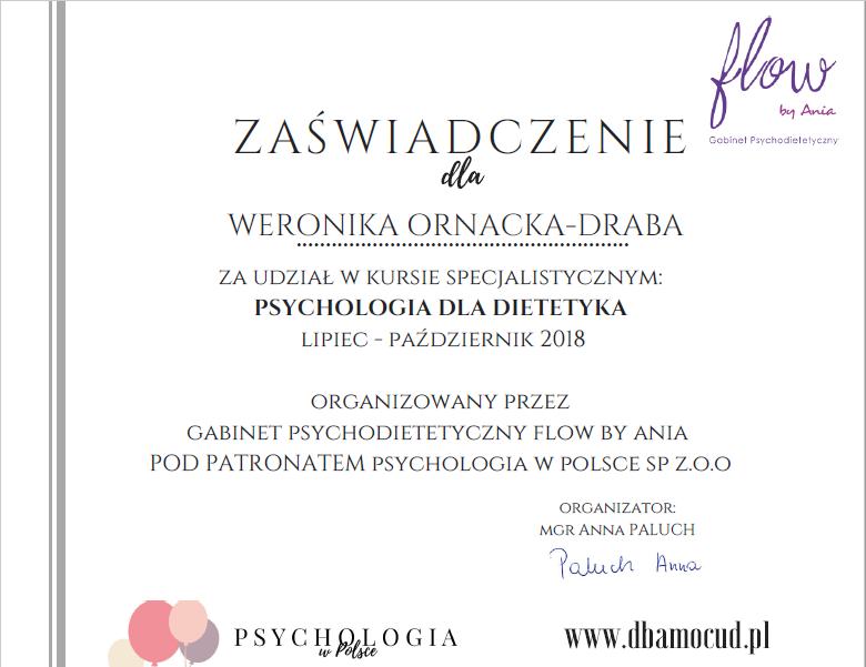 Zaświadczanie kurs psychodietetyka
