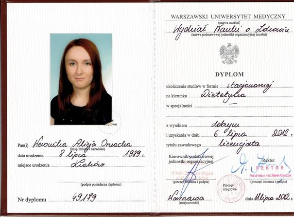 Dietetyk Weronika Ornacka-Draba - tytuł zdobyty na Uniwersytecie Medycznym
