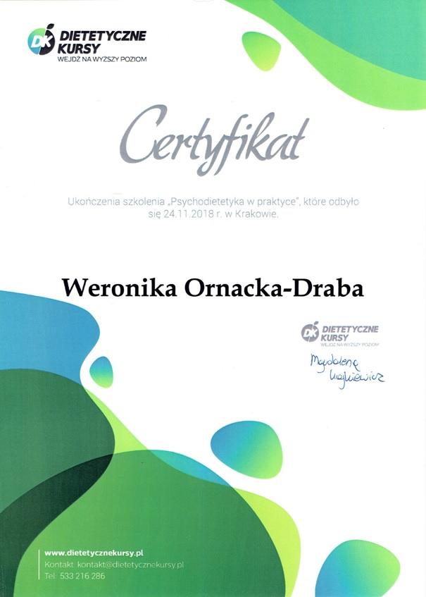 Psychodietetyk z Krakowa - certyfikat szkolenia
